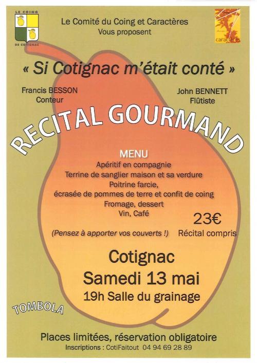 Cotignac Animations : Recital Gourmand
