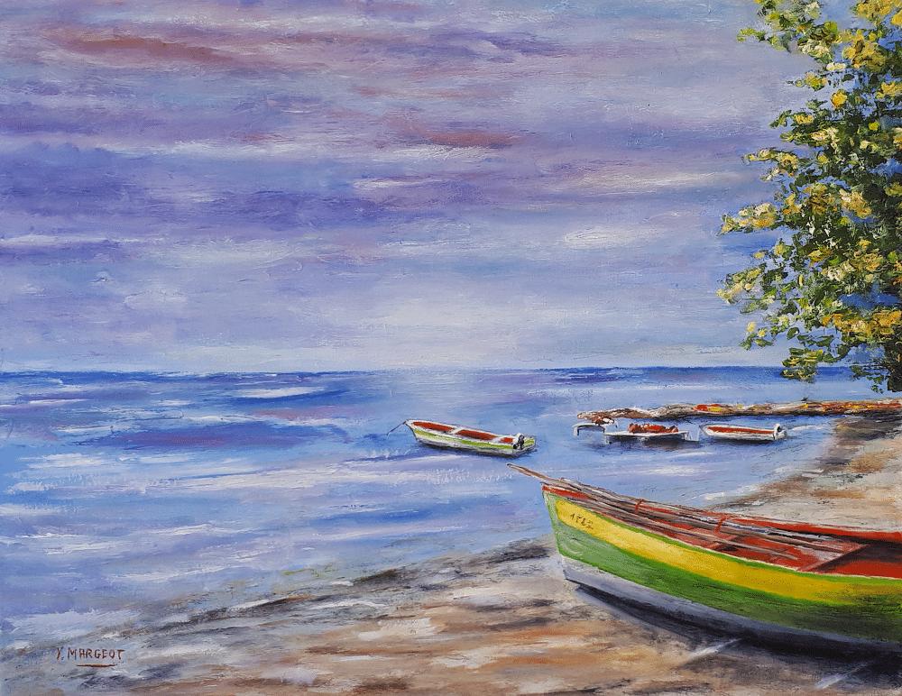 Yollande MARGEOT, artiste-peintre Cotignac : Les Barques sur la Plage