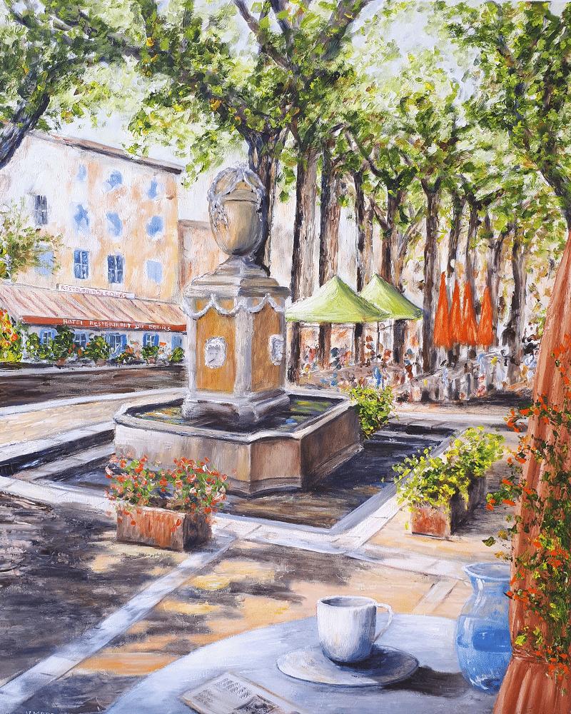Yollande MARGEOT, artiste-peintre Cotignac : Cotignac, le cours et sa fontaine