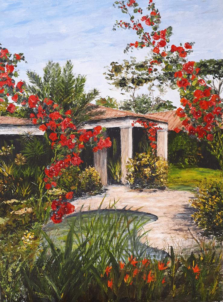Yollande MARGEOT, artiste-peintre Cotignac : Bougainviller dans un jardin en provence